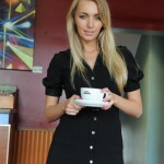 Hayley Marie flashing her stocking tops in a local cafe